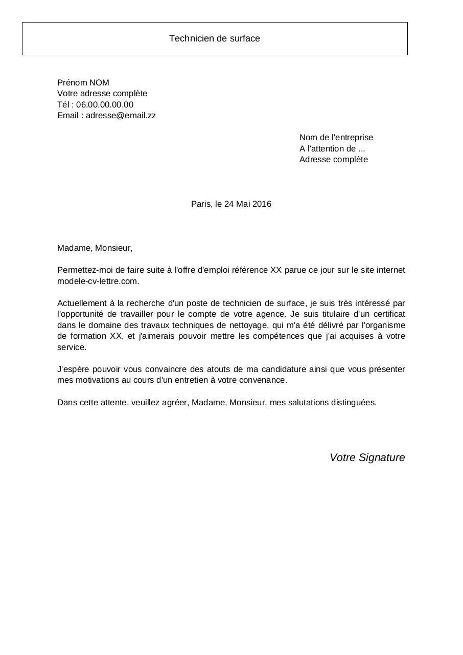 lettre de motivation technicien de surface