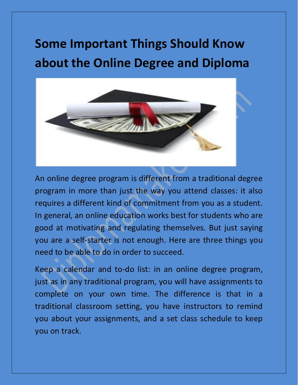 Some Important Things Should Know about the Online Degree and Diploma.pdf - page 1/7