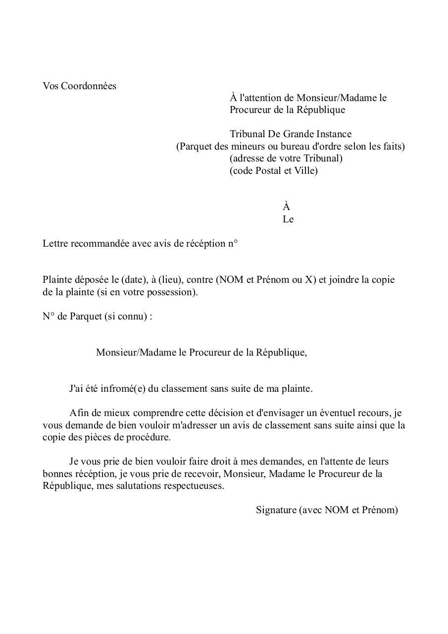 Modele De Demande De Copie De Plainte Apres Classement Fichier Pdf