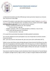 Fichier PDF inscription concours cosplay les aventuriales 2018
