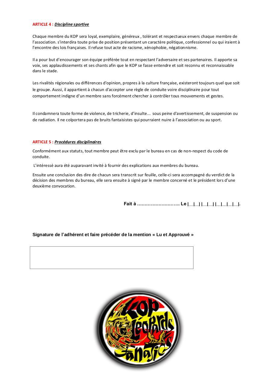 Reglement Interieur Leopards Par Ben Oss Fichier Pdf