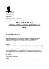 plan de formation soigneur specialise rapaces n1