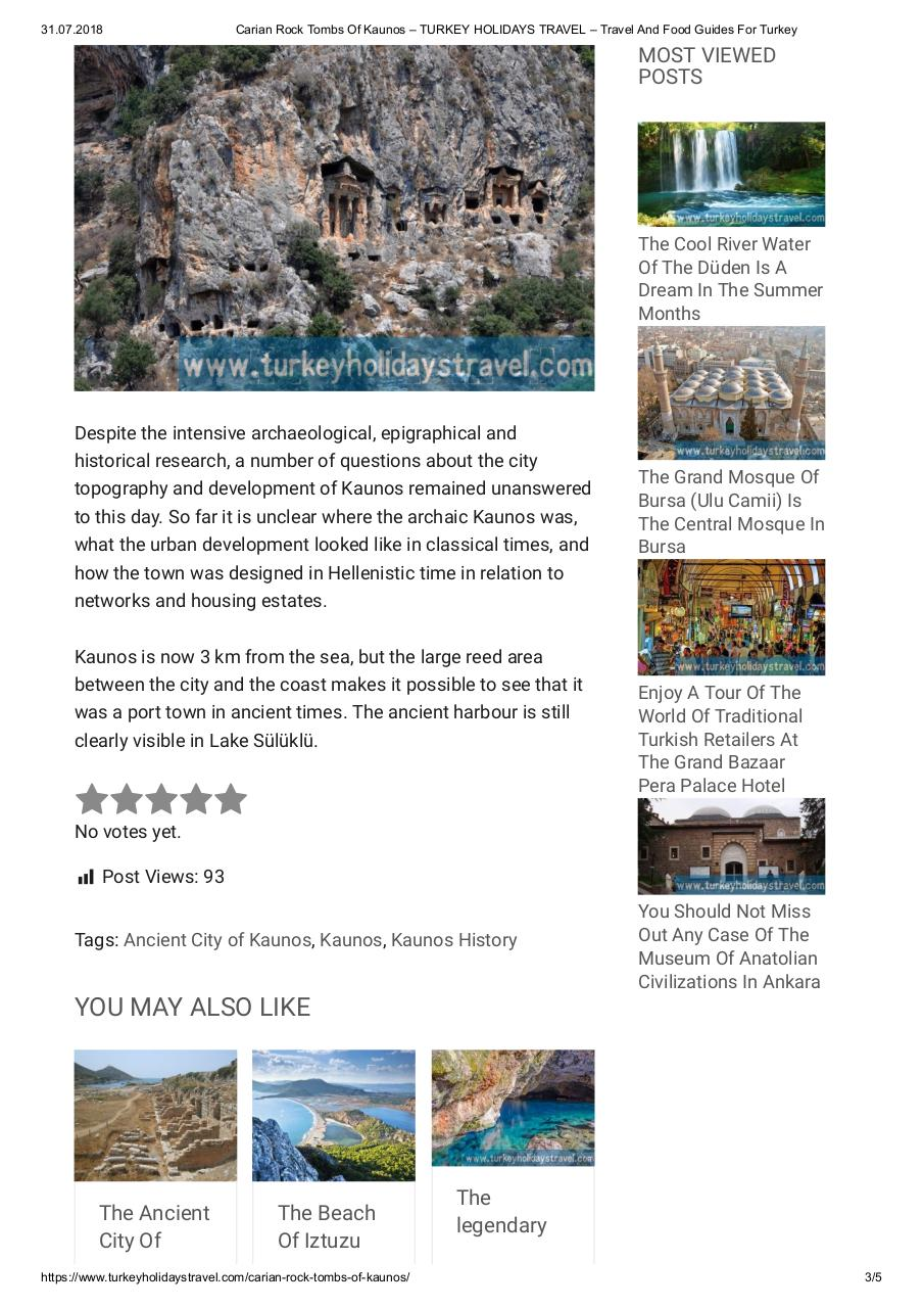 Aperçu du document Carian Rock Tombs Of Kaunos – TURKEY HOLIDAYS TRAVEL – Travel And Food Guides For Turkey.pdf - page 3/5