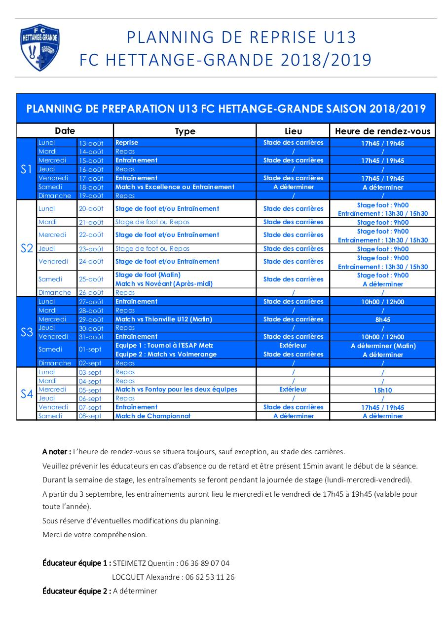 Aperçu du document Planning de reprise U13 FCH.pdf - page 1/1