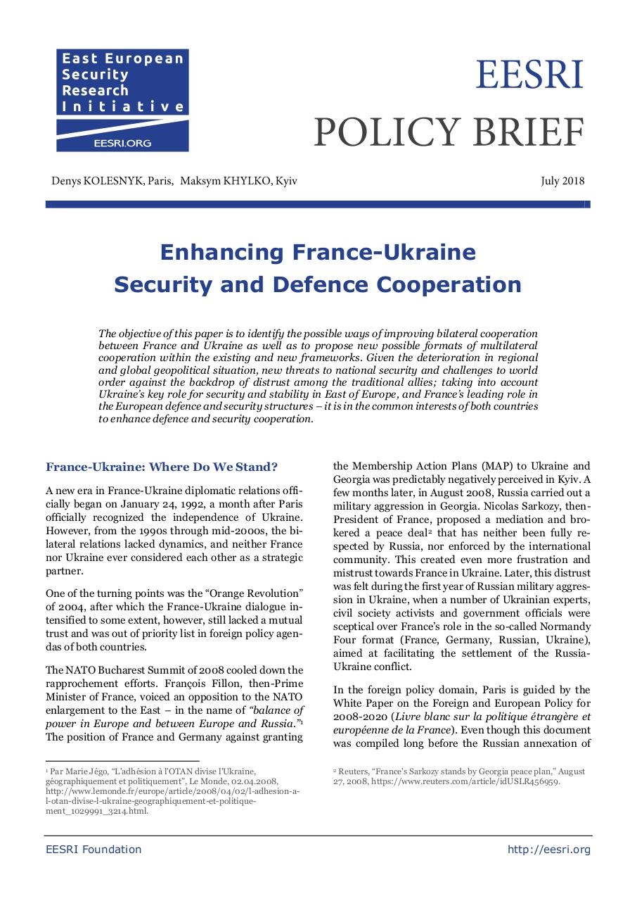 2018-07_France-Ukraine-Security-Cooperation_PB-ENG.pdf - page 1/10