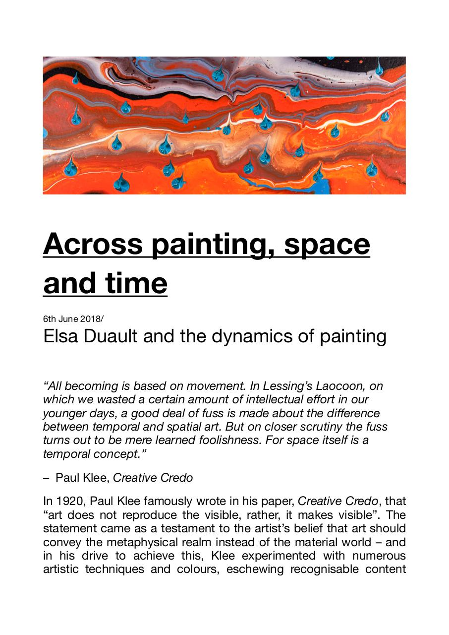 Publication Fluid Art Fluid Painting, ART AFRICA Ellen Agnew, Across Painting Space and Time, Elsa Duault, Candice Berman Gallery Berman Contemporary .pdf - page 1/7