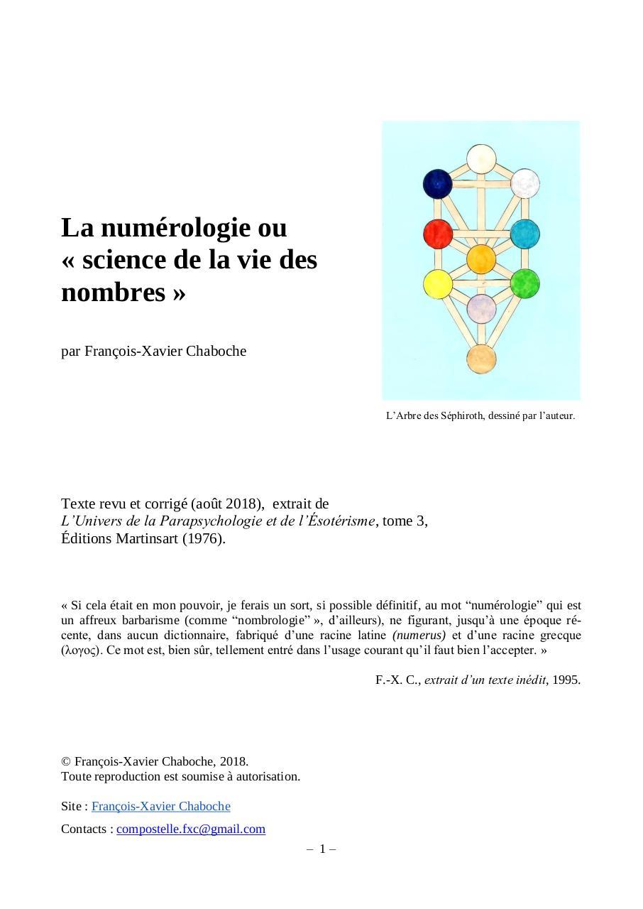 7c856f09008af8 La numérologie ou « science de la vie des nombres » par François ...