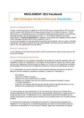 reglement jeu kolfacebook