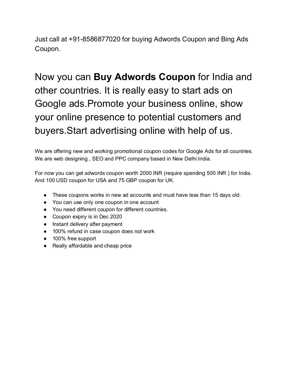 Buy Adwords Coupon - Adwords Coupon 2018 - 100% working Voucher - Call 8586877020.pdf - page 1/3