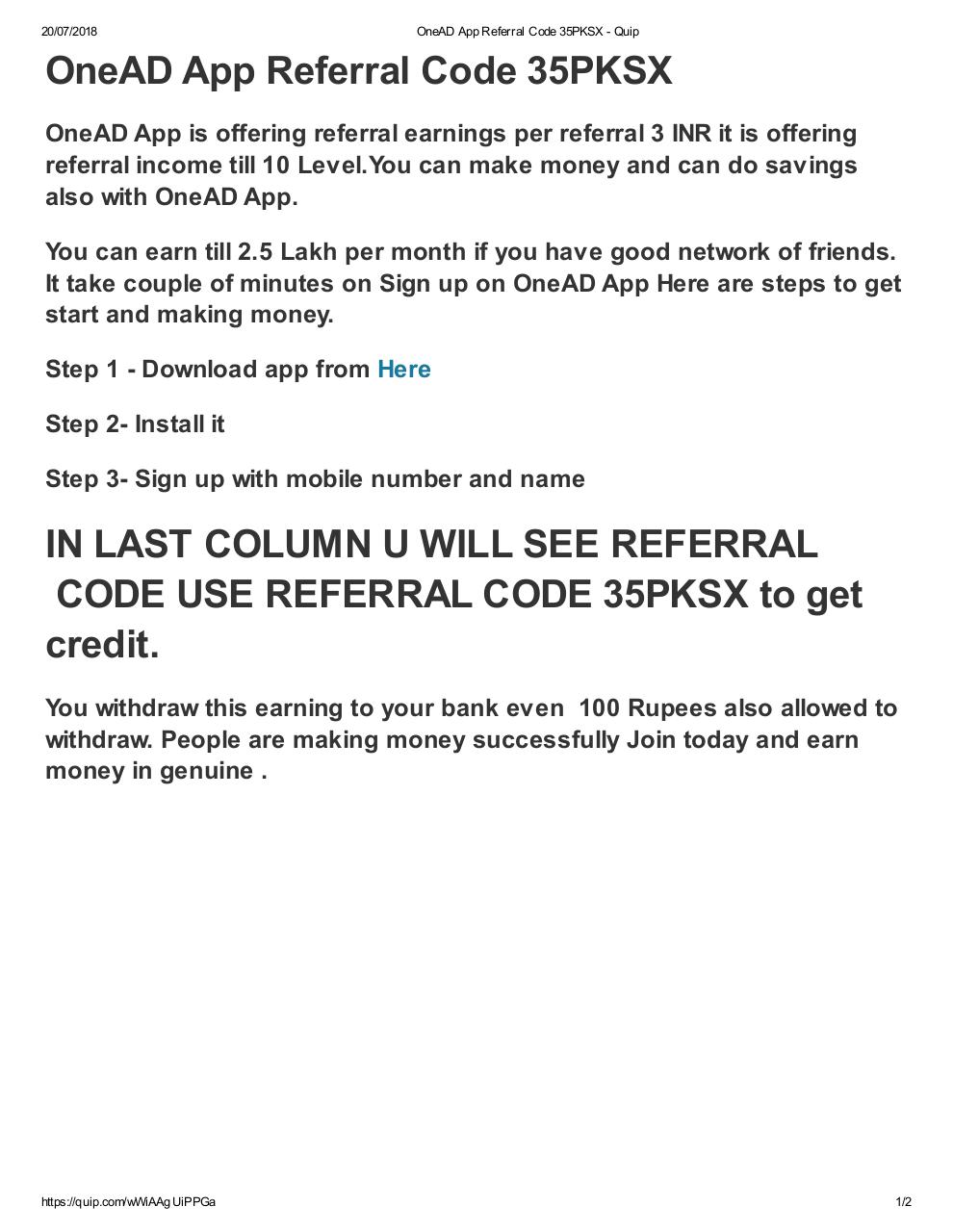 OneAD App Referral Code 35PKSX.pdf - page 1/2