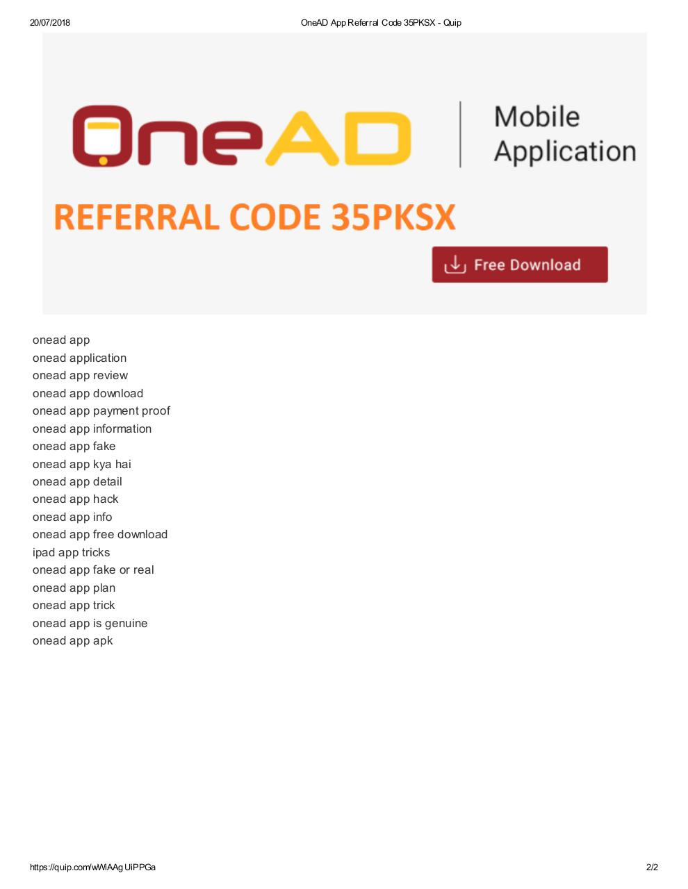 OneAD App Referral Code 35PKSX.pdf - page 2/2