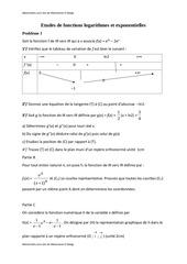etudes de fonctions logarithmes et exponentielles