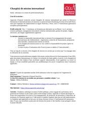 fiche de poste assistant partenariats international