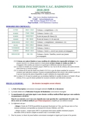 fichier inscription uscb 2018 2019