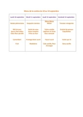 menu de la cantine du 10 au 14 septembre