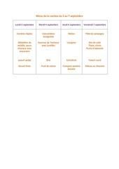 menu de la cantine du 3 au 7 septembre