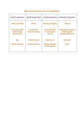 menu de la cantine du 17 au 21 septembre