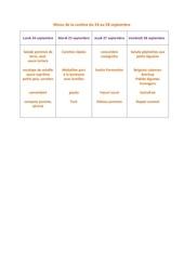 menu de la cantine du 24 au 28 septembre
