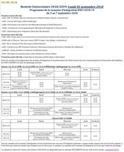 programme de la semaine dintegration du 03 au 07 septembre 2018 1