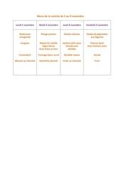 menu de la cantine du 5 au 9 novembre