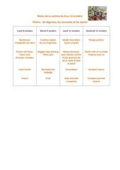 menu de la cantine du 8 au 12 octobre