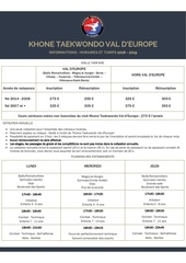 khone taekwondo   horaires et tarifs