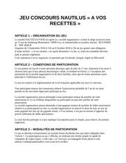 reglement jeu concours nautilus a vos recettes