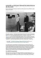 lacinetek un site pour visionner les chefs doeuvre du xxe siecle