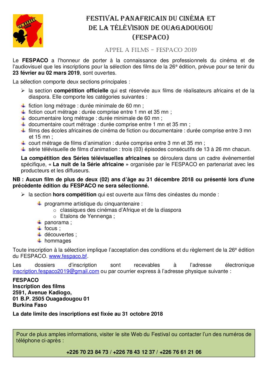 Aperçu du document APPEL A FILMS FESPACO 2019 OK doc-francais bon.pdf - page 1/1