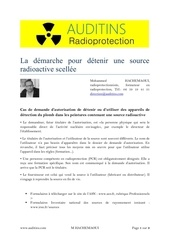 demarchede detention dune source radioactive scellee