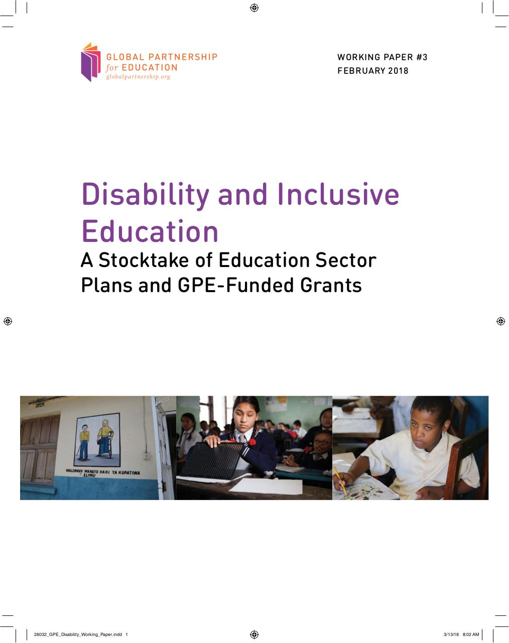 Aperçu du document GPE - Disability and Inclusive Education A Stocktake of Education Sector Plans and GPE-Funded Grants.pdf - page 1/83