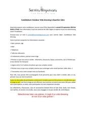 candidature pour participer au vide dressing