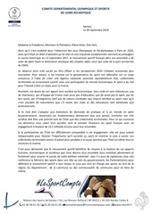 courrier petition nationale financement du sport