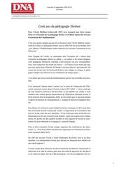 cent ans de la pedagogie steiner artcile rentree 2018 dna 260918