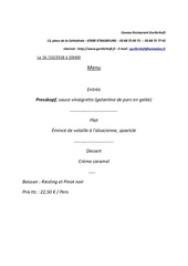menu des 3 repas et hotel pour 2 nuitees