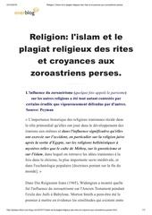 plagiat religieux des rites et croyances zoroastriens perses