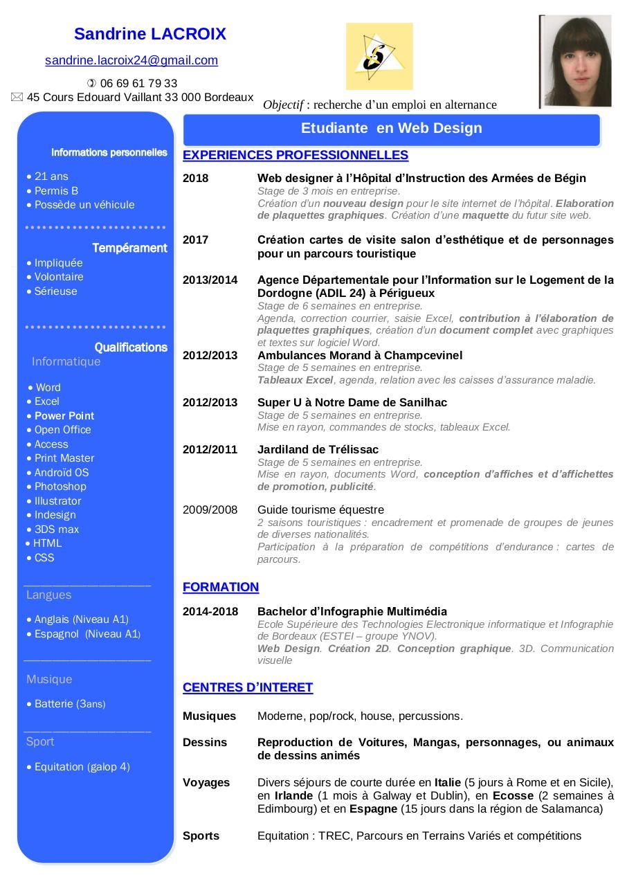Apercu Du Document CV 2018 Sandrine LACROIX Bordeaux1pdf
