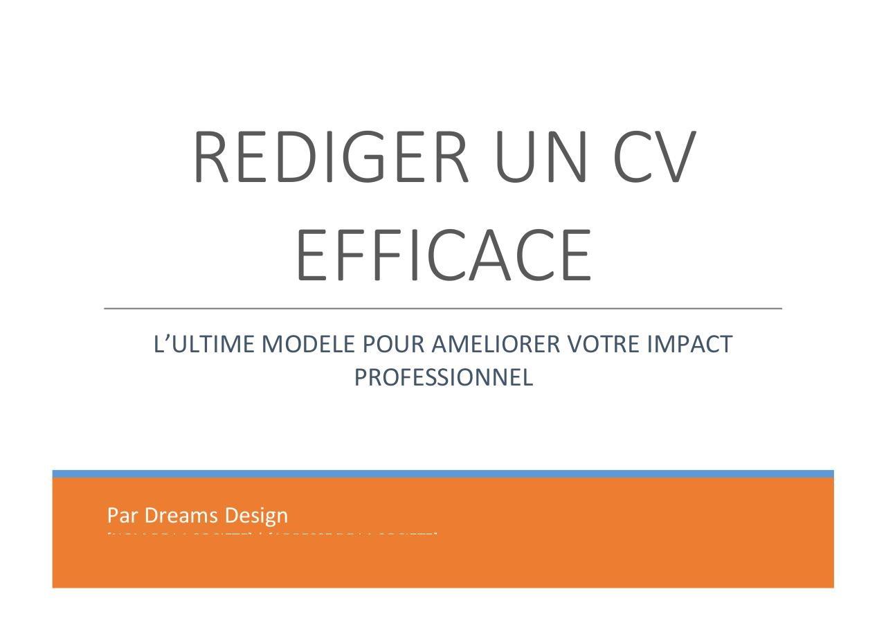 rediger un cv efficace par par dreams design