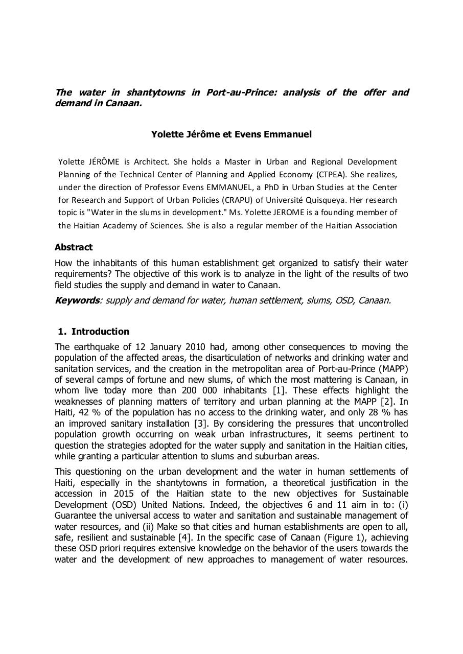 Aperçu du document The water in shantytowns in Port-au-Prince analysis of the offer and demand in Canaan..pdf - page 1/4