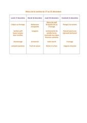 menu de la cantine du 17 decembre