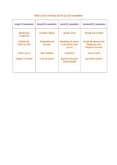 menu de la cantine du 19 au 23 novembre