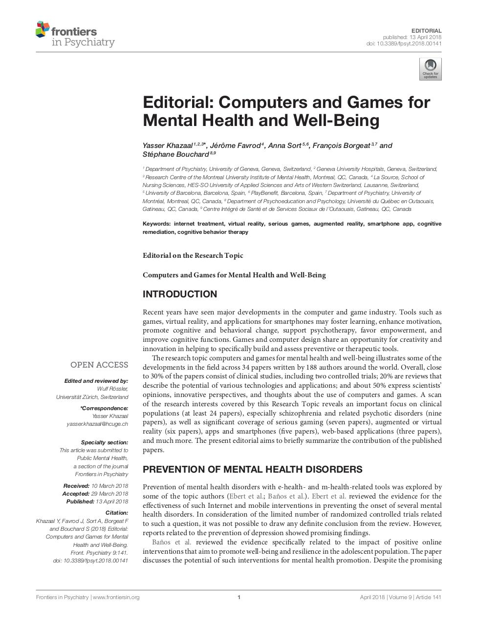 Editorial: Computers and Games for Mental Health and Well