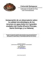 instauracion de un observatorio sobre la calidad microbiologica