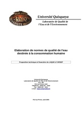 laboration normes qualite eau potable   proposition ursep