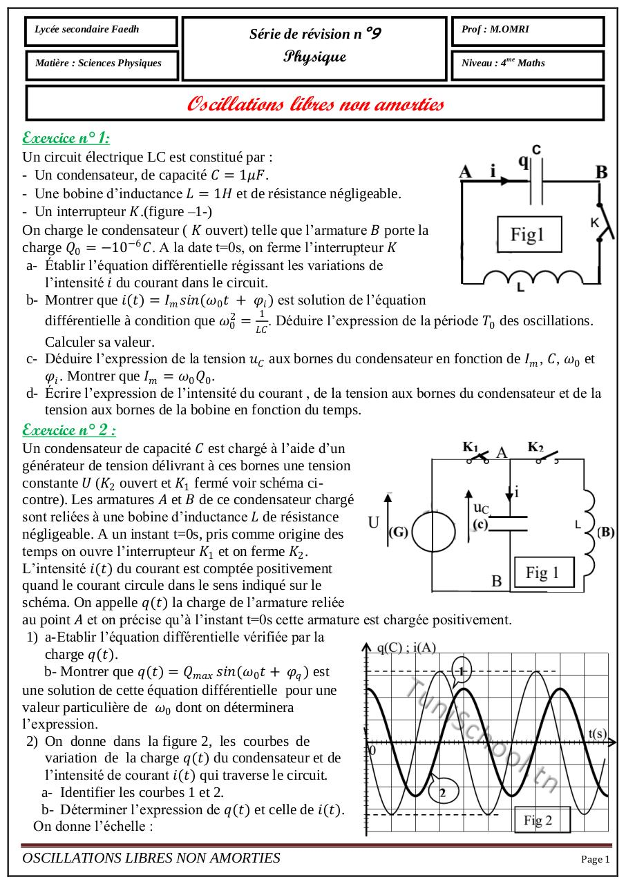 série9 Oscillations libres non amorties.pdf - page 1/4