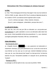 Fichier PDF fiche informations club