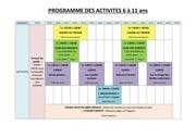 programme des activites 6 a 11 ans
