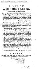 lettre a monsieur lecoz  archeveque de besancon