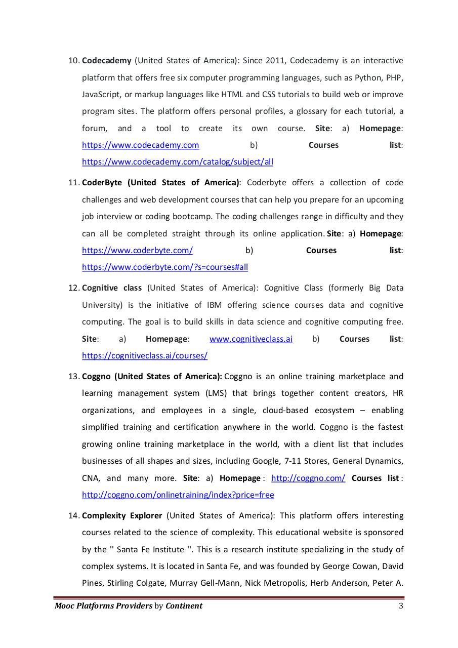 Mooc platforms by Continent par Shiftinnovation - Fichier PDF