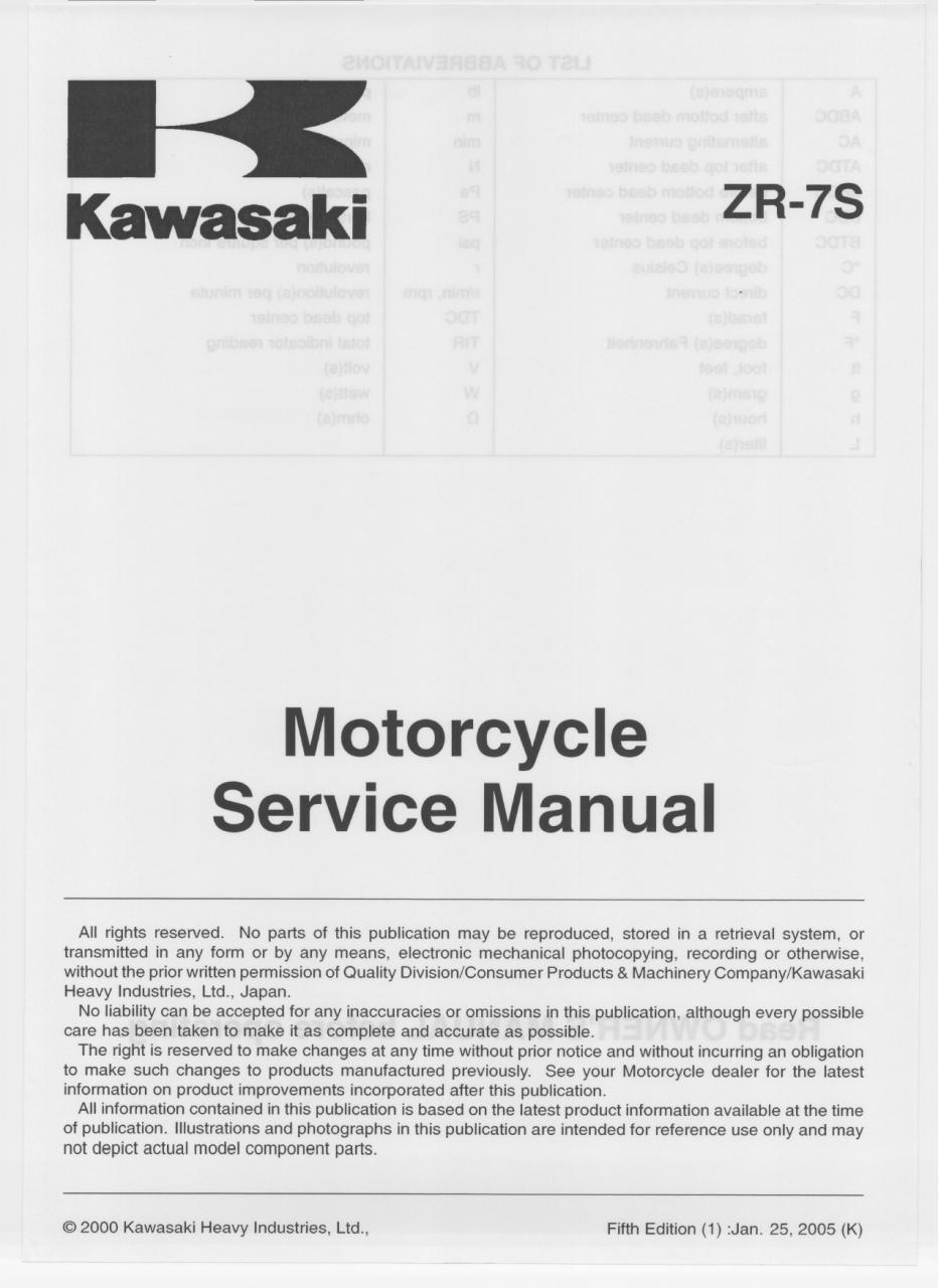 Zr 7s Service Manual 5th Edition Toc Fichier Pdf Kawasaki Wiring Diagram Tocpdf Page 1 353